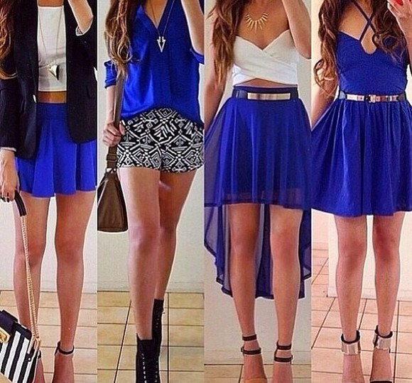 skirt blue bag blue skirt dress top black necklace high heels white Belt shoes gold silver blouse