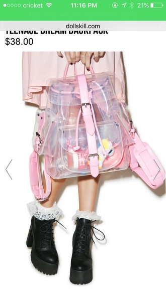 bag pink clear backpack