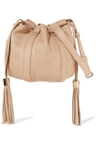 mini bag bucket bag leather beige