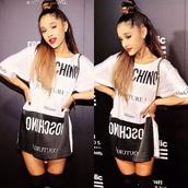 dress,ariana grande,bun,hair/makeup inspo,moschino,t-shirt dress,black and white,black and white dress