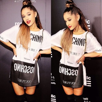 dress ariana grande bun hair/makeup inspo moschino t-shirt dress black and white black and white dress