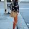 Black keyhole front floral chiffon blouse