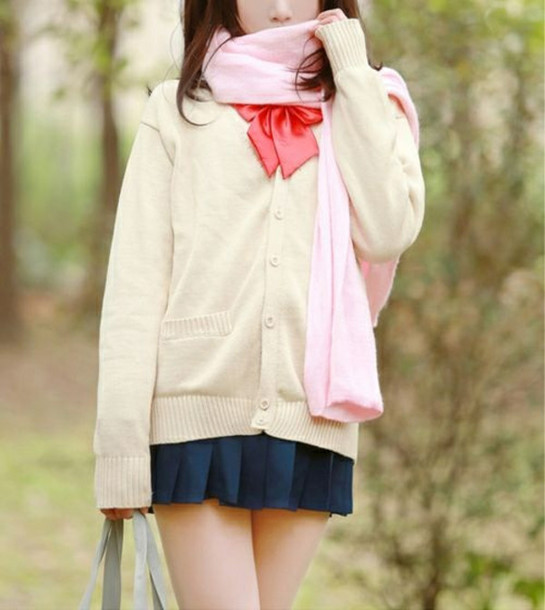 Cardigan School Girl Anime Kawaii Uniform Cosplay Lovely Knit