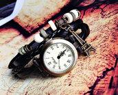 jewels,wrap watch,watch,leather watch,black,vintage style,charm bracelet,leather bracelet,paris