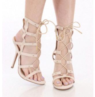 shoes high heels heels mid heels strappy heels sandals nude beige open toes bandage