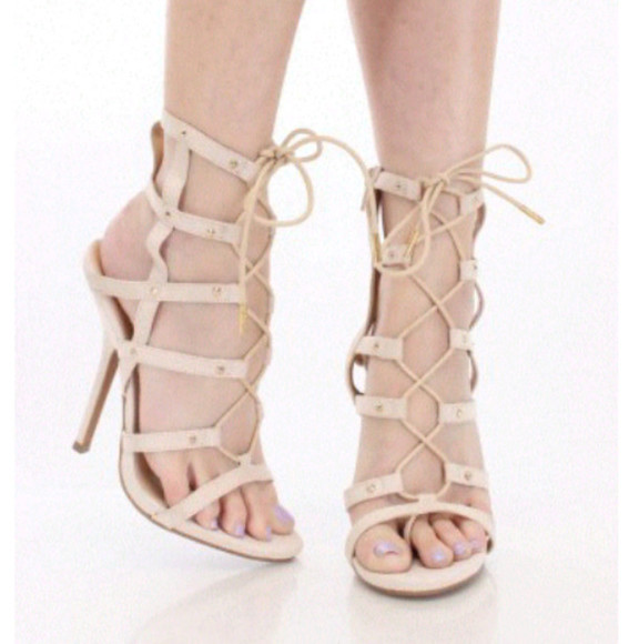 beige shoes high heels mid heels strappy heels sandals nude open toe bandage