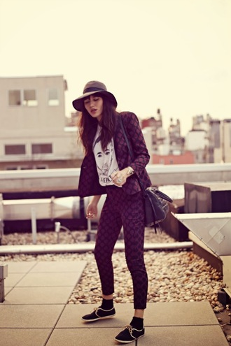 natalie off duty jacket pants t-shirt bag hat shoes jewels