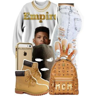sweater empire timberlands iphone acid wash jeans highwaist jeans mask mcm gold white urban casual laid back style jeans