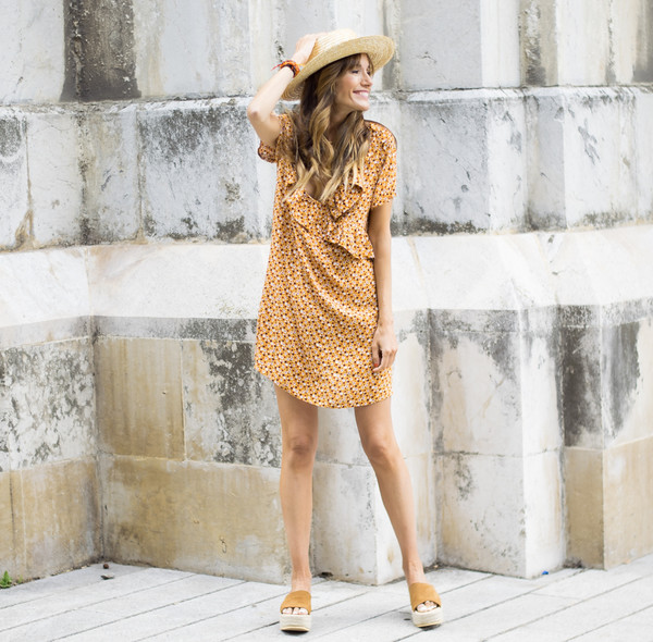 rebel attitude blogger dress shoes hat summer dress summer outfits platform sandals straw hat mini dress