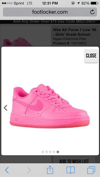 shoes pink air force 1