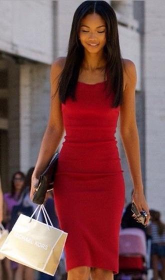 dress red sleeveless chanel iman