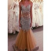 dress,prom dress,prom,long prom dress,long dress,sparkly dress,beautiful,fashion,nude,nude dress,silver,silver glitter,silver dress,see through,mermaid prom dress,bodycon dress,bag