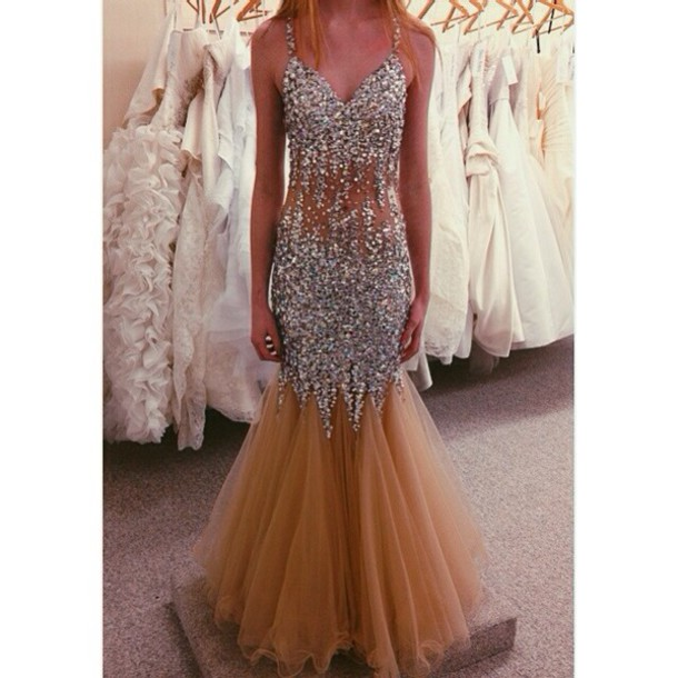 dress prom dress prom long prom dress long dress sparkly dress beautiful fashion nude. Black Bedroom Furniture Sets. Home Design Ideas