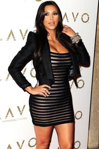 dress kim kardashian gorgeous sexy black bronze jacket blazer