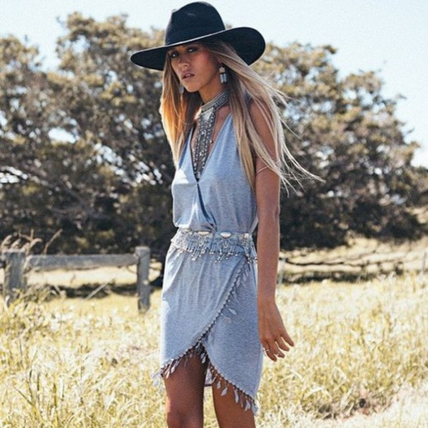dress, hat, fashion, hippie chic, hippie, style, boho, boho chic ...