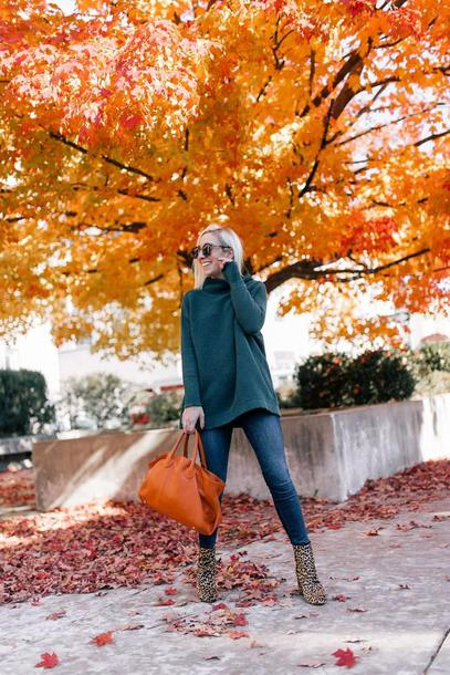 lemon stripes blogger sweater jeans shoes bag fall outfits ankle boots handbag blue sweater
