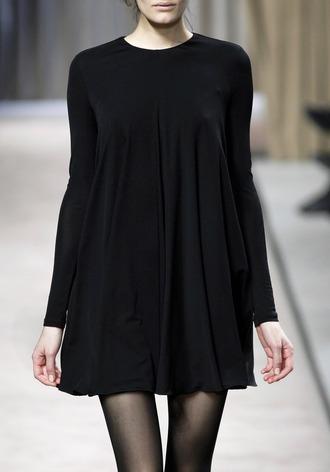 dress runway black dress casual dress babydoll dress silk