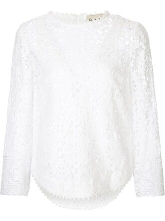 blouse layered lace white top