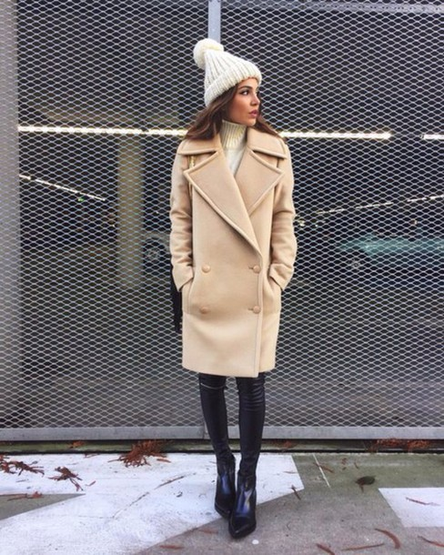Coat: light brown coat - Wheretoget