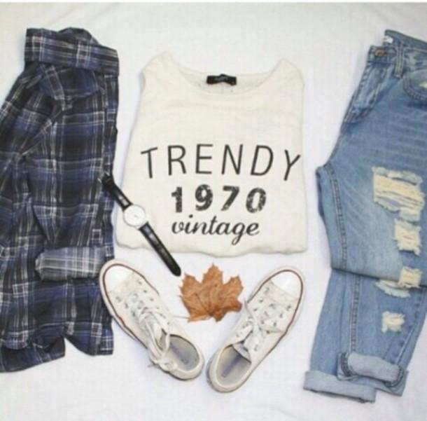 blouse jeans t-shirt