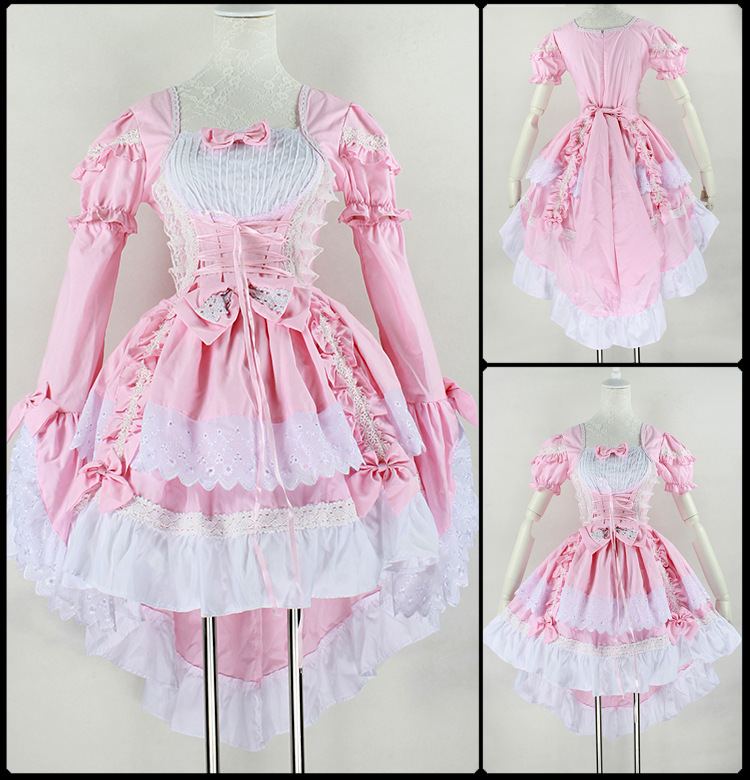 Hot selling 2014 christmas party costume pink black gothic costume lovely lolita dress princess costume girl maid cosplay