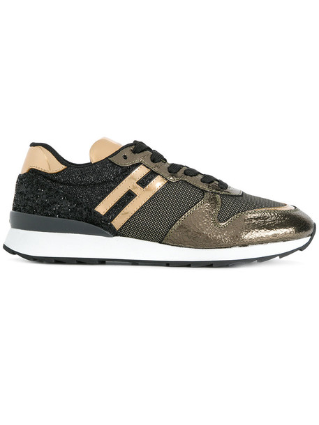 Hogan metallic women sneakers leather grey shoes