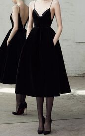 dress,black dress,black,alex perry,velvet,velvet dress,midi dress,v neck dress,satin trim,thin straps dress,exposed back,deep v backless dress,side pockets,black fit and flare dress,shoes,classy dress,dupe