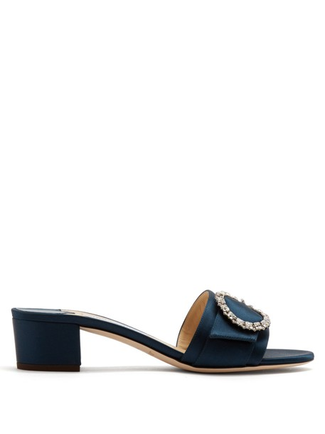 Jimmy Choo embellished mules satin navy shoes