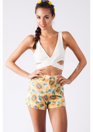 Berry Cobbler Shorts-Sunflowers - Stelly