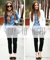 dress corilynn,blogger,denim shirt,white jacket,blazer,black pants,top,pants,scarf,shoes,bag,jacket,jewels