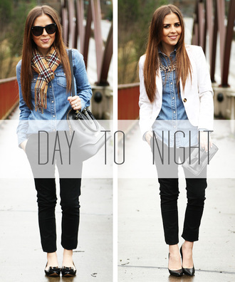 dress corilynn blogger denim shirt white jacket blazer black pants top pants scarf shoes bag jacket jewels