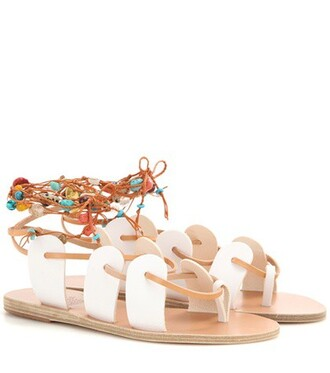 embellished sandals leather sandals leather white shoes
