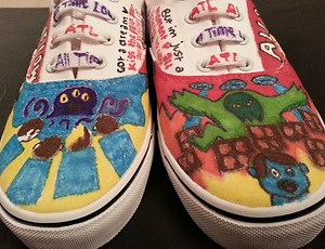 All time low /monster /other personalised,unique,hand drawn,unisex, canvas shoes