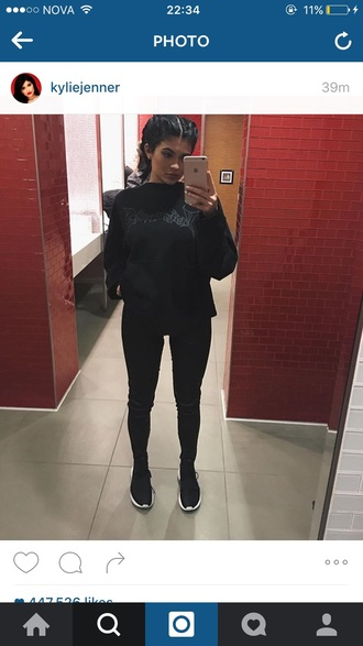 shoes black leather pants sweater kylie jenner pullover ny fashion week 2016 new york city streetwear streetstyle center french braids cool chic sporty sporty chic comfy love blue