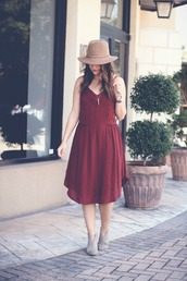 live more beautifully,blogger,dress,shoes,hat,jewels,bag,grey boots,booties,red dress,felt hat