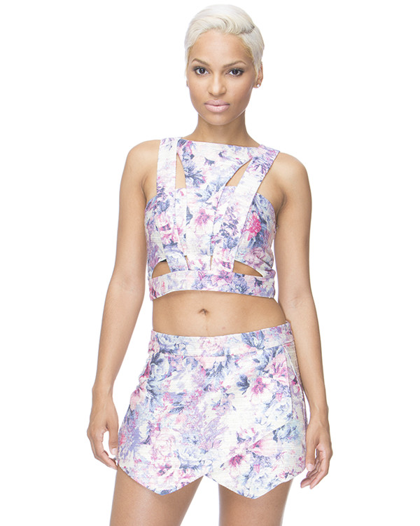 cut out crop top purple purple crop top purple shorts floral