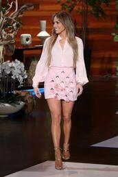 blouse,skirt,mini skirt,jennifer lopez,pink