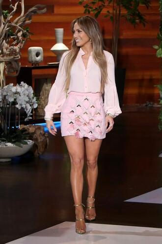 blouse skirt mini skirt jennifer lopez pink