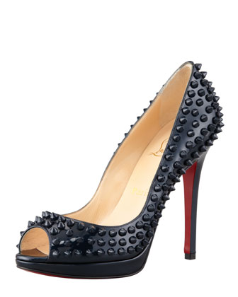 Christian Louboutin Yolanda Spikes Peep-Toe Red Sole Pump, Blue Khol - Bergdorf Goodman