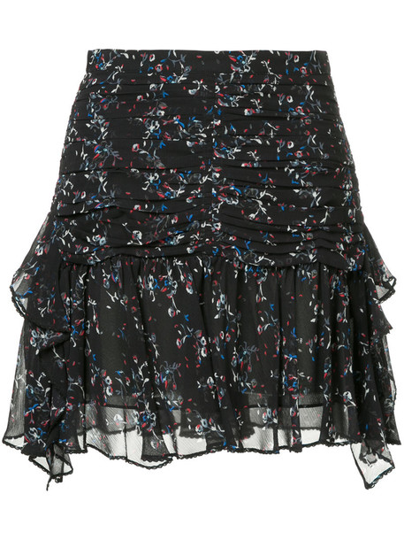 TANYA TAYLOR skirt women layered floral print black silk