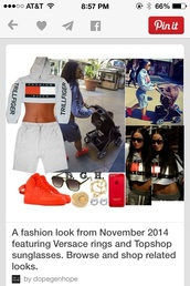 shirt,trill,crop tops,cropped sweater,grey sweater,red sweater,pinterest,tommy hilfiger crop top,tommy hilfiger,fashion killa,cropped hoodie,belly,versace,ring,jewelry,stud earrings,gold earrings,iphone 5 case,topshop,aviator sunglasses,nike shoes,nike air force,nike air force 1,india love,westbrooks,polyvore,outfit