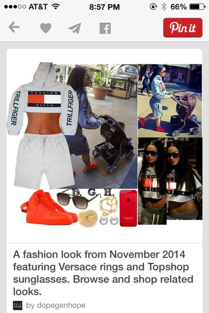 shirt trill crop tops cropped sweater grey sweater red sweater pinterest tommy hilfiger crop top tommy hilfiger fashion killa cropped hoodie belly versace ring jewelry stud earrings gold earrings iphone 5 case topshop aviator sunglasses nike shoes nike air force nike air force 1 india love westbrooks polyvore outfit