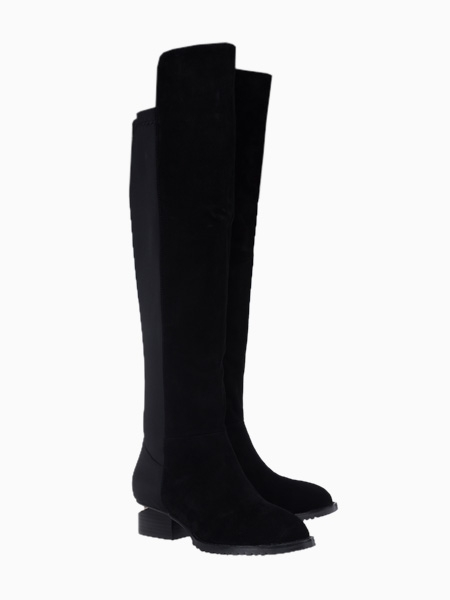 Suede Over the Knee Boots With Elastic Cloth Detail | Choies
