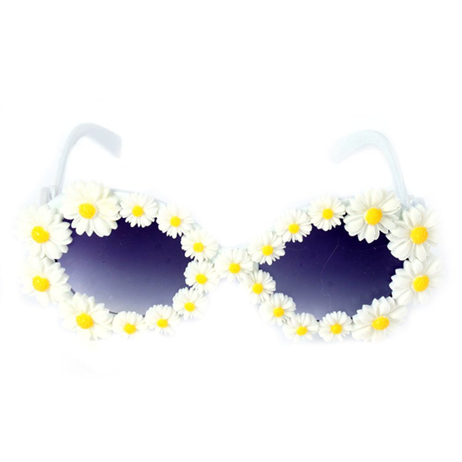 Amazon.com: etosell full frame daisy adorned plastic round sunglasses oversized eyewear glasses: clothing