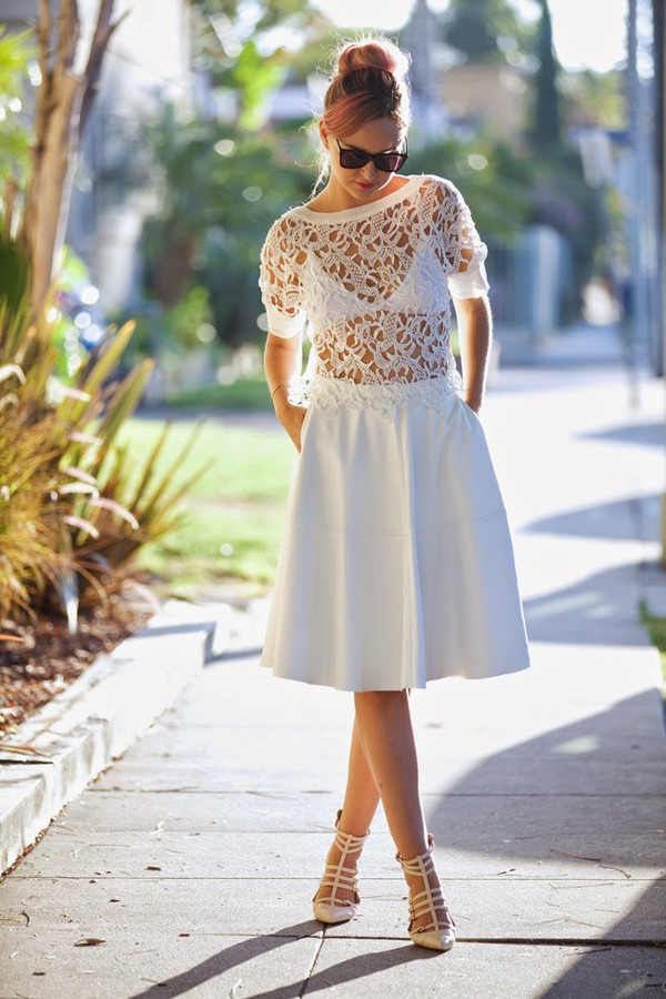 late afternoon skirt top shoes sunglasses