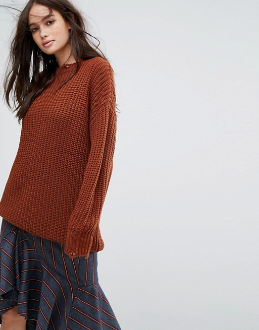 Moon River Distressed Chunky Jumper at asos.com