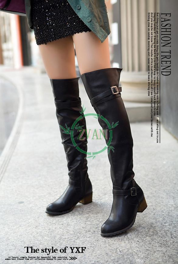 Fashion Women's Metal Buckle PU Leather Over The Knee High Flat Boots Shoes 2014 new 9509-in Boots from Shoes on Aliexpress.com | Alibaba Group