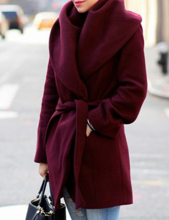 coat burgundy coat belt burgundy cozy coat jacket