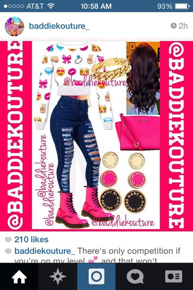 shoes combat boots sweater emoji print Polyvore pink cute high waisted jeans distressed jeans denim dr marten boots hot pink couture wardrobe