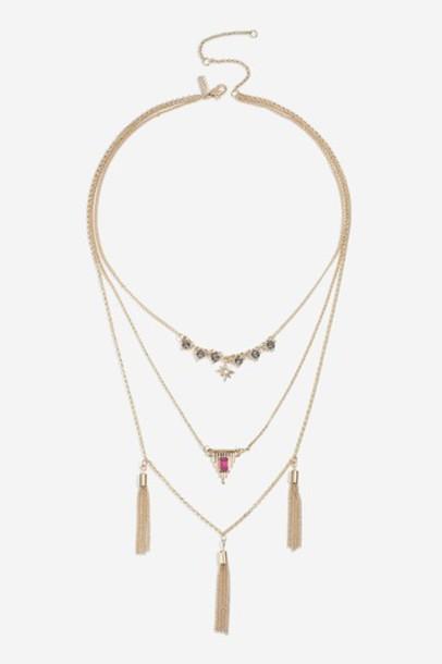 Topshop tassel necklace pink jewels